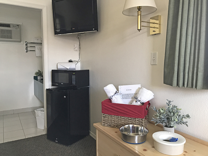 Our Dog Room has special amenities for your canine companion.
